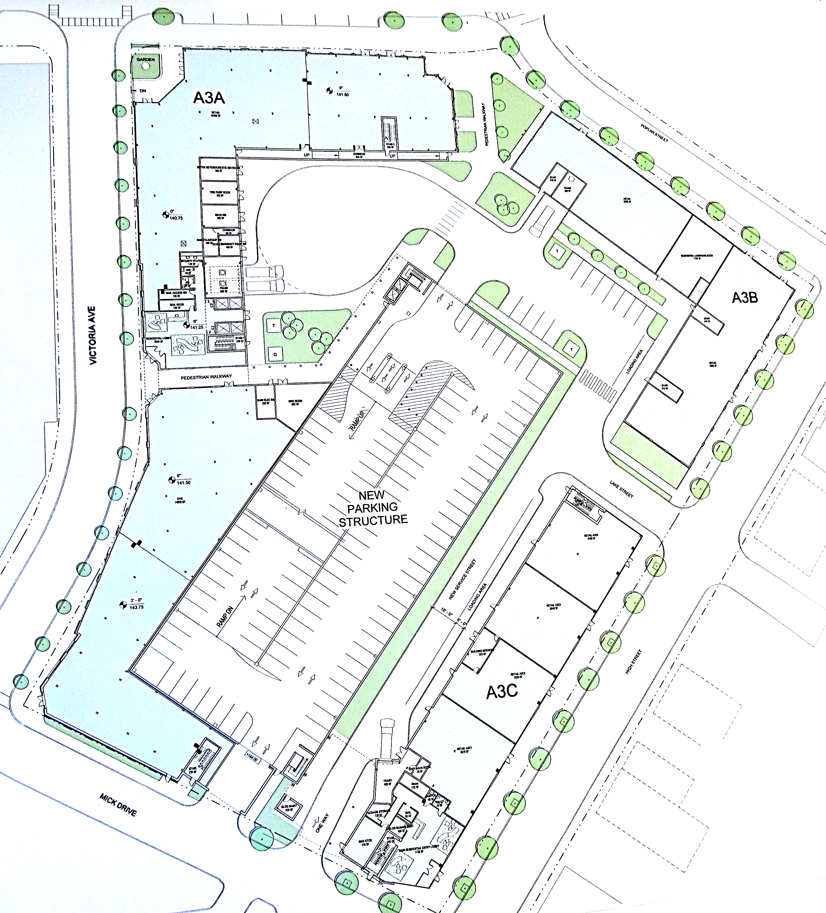 A3a Ground Level Site Plan C Blackney Hayes Architects Prepared For Nexus Properties Rowan Boulevard Development