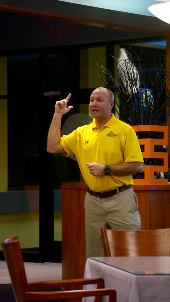 Mike Dickson shares his experiences with sports during the March 7 ProfTalk. Dickson is Rowan baseball's head coach. -Staff Photo/Anthony Medina