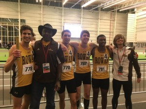 "The members of the university record-breaking distance medley relay team stand with women's head coach Derick ""Ringo"" Adamson and men's assistant coach Eric DuBois. -Photo courtesy of Rowan men's indoor track and field"