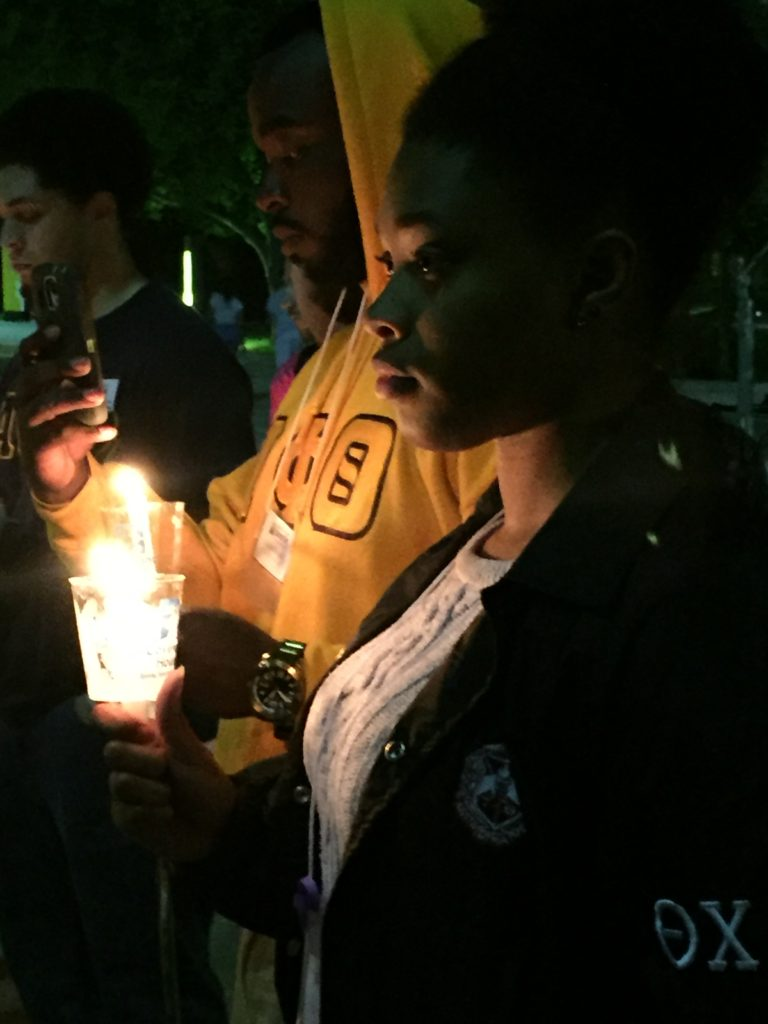 A candlelight vigil was held before the sleep-out in memory of children who died while homeless. - Photo courtesy of Mandi Cruz